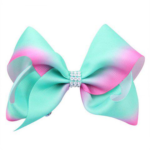 Chic Rainbow Gradient Color Rib with Girls Bow Hairpin Hot Drilling Children Hair Accessories