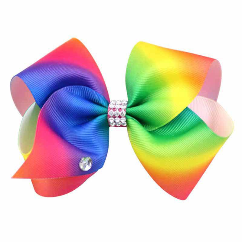 Fashion Rainbow Gradient Color Rib with Girls Bow Hairpin Hot Drilling Children Hair Accessories