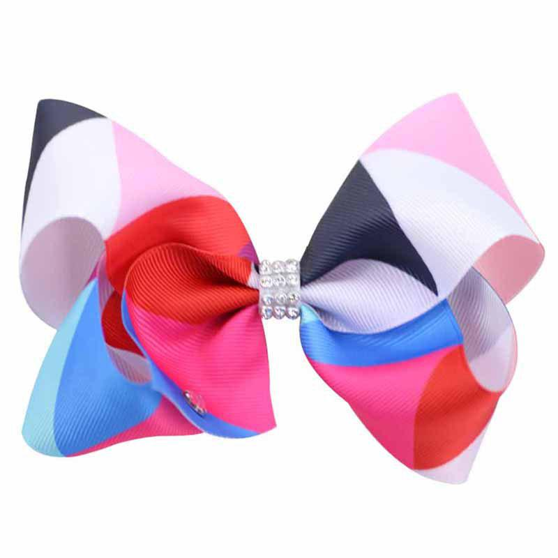 Outfit Rainbow Gradient Color Rib with Girls Bow Hairpin Hot Drilling Children Hair Accessories