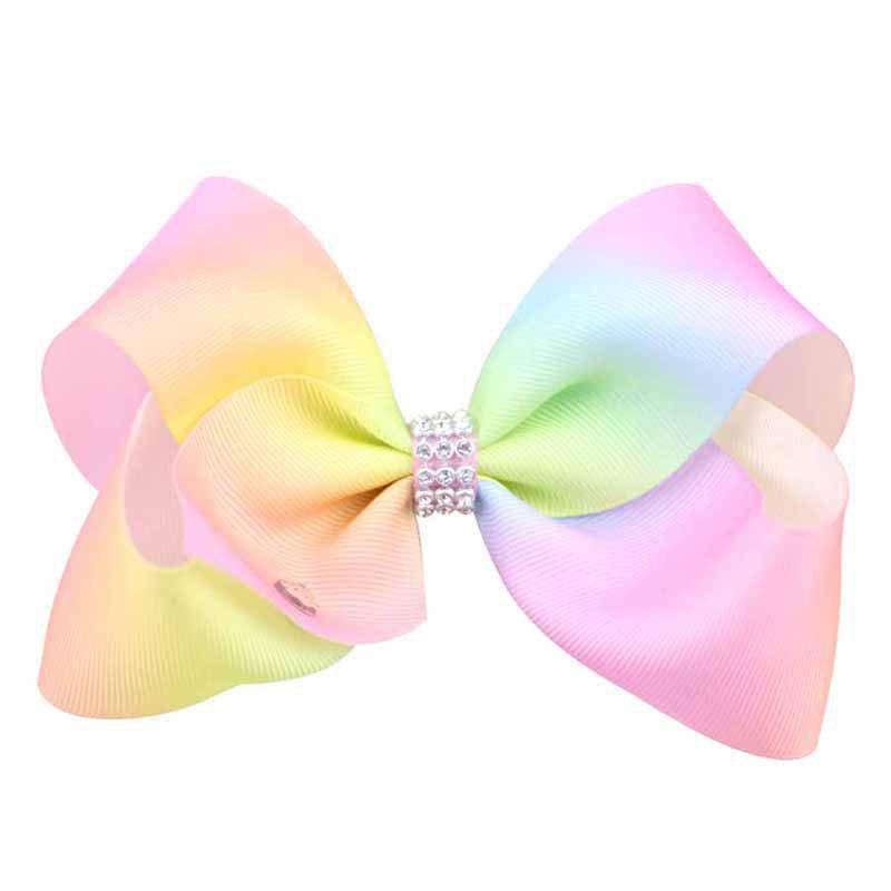Shops Rainbow Gradient Color Rib with Girls Bow Hairpin Hot Drilling Children Hair Accessories