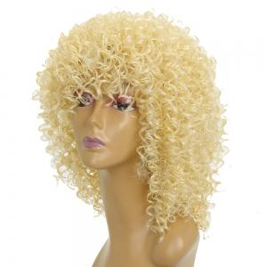 Light Blonde Afro Curly Best High Temprature Fiber Synthetic Short Hair Wig for African American Women -