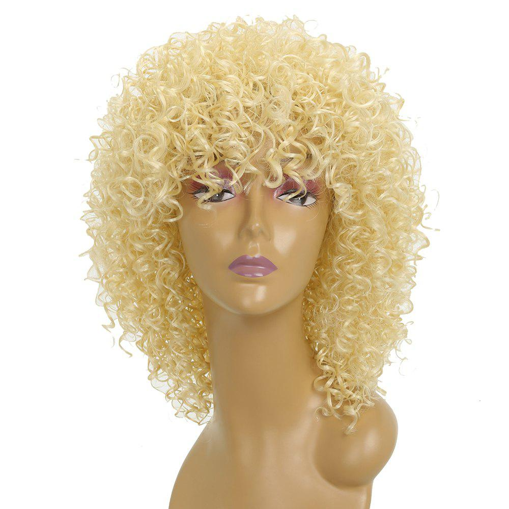 Fashion Light Blonde Afro Curly Best High Temprature Fiber Synthetic Short Hair Wig for African American Women