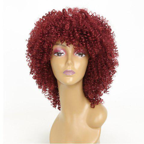 Fancy Wine Red Color Afro Curly Best High Temprature Fiber Synthetic Long Hair Wig for African American Women