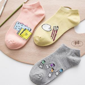 New Pure Cotton Socks in Spring and Summer with Five Pairs of Color Mix -