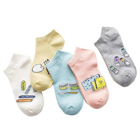 Cheap New Pure Cotton Socks in Spring and Summer with Five Pairs of Color Mix