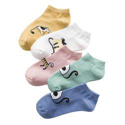 Five Pairs of Color Blending in Spring and Summer Thin Sock -