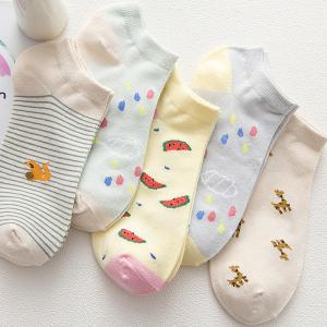New Thin Fresh Pure Cotton  Stealth Ship Socks Five Pairs of Color Mix and Match in Summer -
