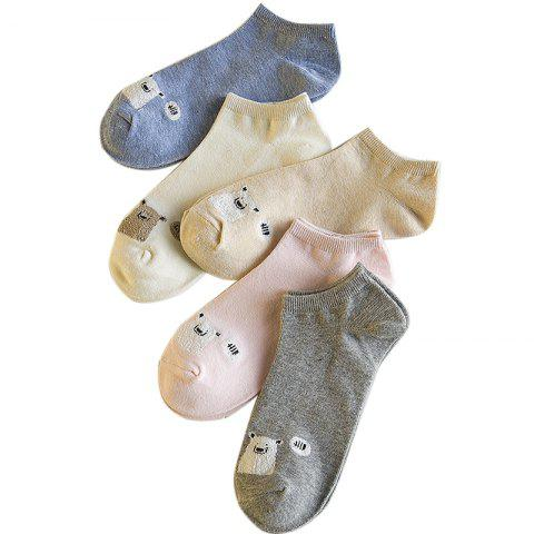 Best Spring and Summer  New Womens Cotton All-match Thin Socks Five Pairs of Socks with Different Color