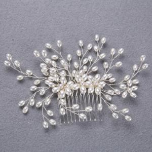 Wedding Bride White and Gold Hair Comb for Women Jewelry -
