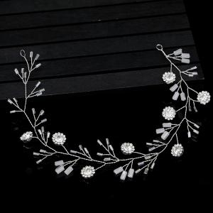 Silver Round Crystal Headband Hair Jewelry for Women Bride -