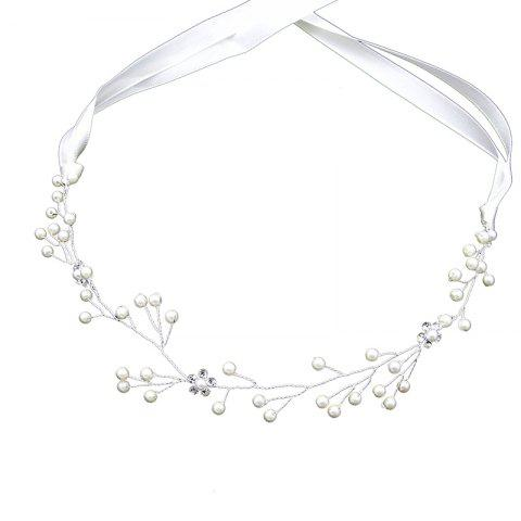 Chic Silver Flower Headband Hair Jewelry for Wedding Bride Women