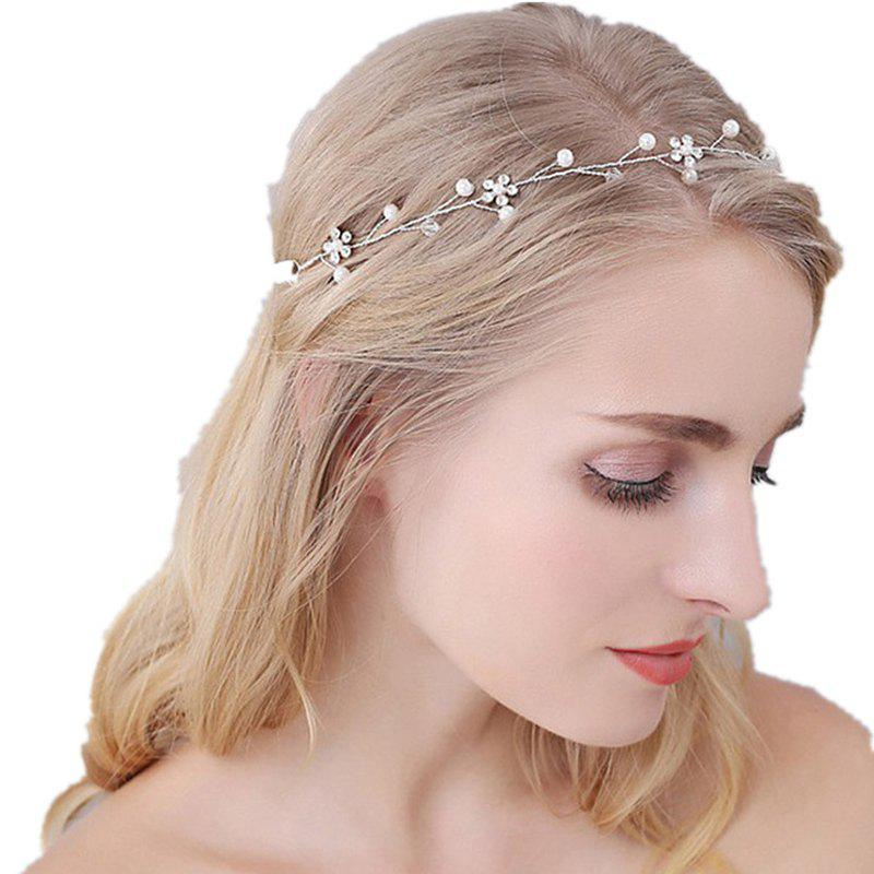 Shops White Bead and Silver Flower Headband Hair Jewelry for Wedding Bride