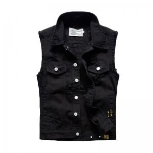 Men's Waistcoat Cozy Letter Print Sleeveless Broken Holes Denim Coat -