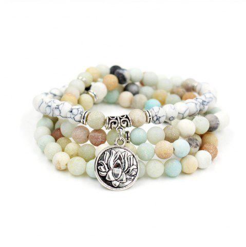 Fashion New Design Antique Silver Color Lotus Charm Pendant Elastic 108 Pcs Mala Amazonite Stone Bead Bracelet Necklace Jewelry