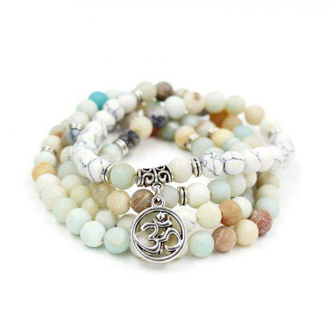 Affordable New Design Antique Silver Color Lotus Charm Pendant Elastic 108 Pcs Mala Amazonite Stone Bead Bracelet Necklace Jewelry