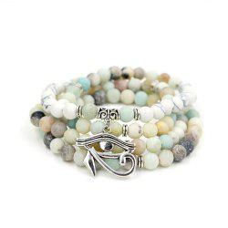New Design Antique Silver Color Lotus Charm Pendant Elastic 108 Pcs Mala Amazonite Stone Bead Bracelet Necklace Jewelry -