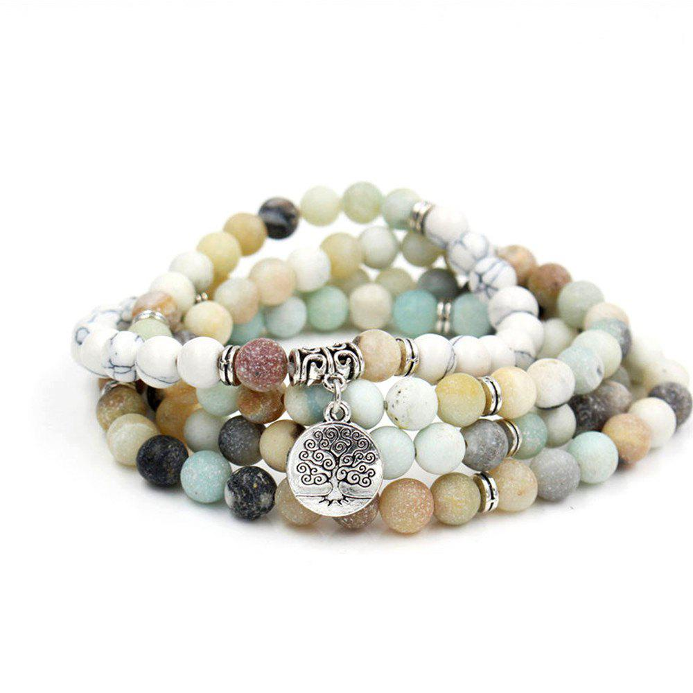 Chic New Design Antique Silver Color Lotus Charm Pendant Elastic 108 Pcs Mala Amazonite Stone Bead Bracelet Necklace Jewelry
