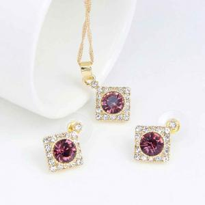 Female Rhinestone Diamond Pendant Earrings Wedding Accessories Suit -