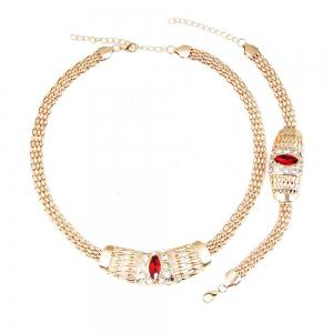 New Gold-plated Chain  with Crystal Necklace Earrings -