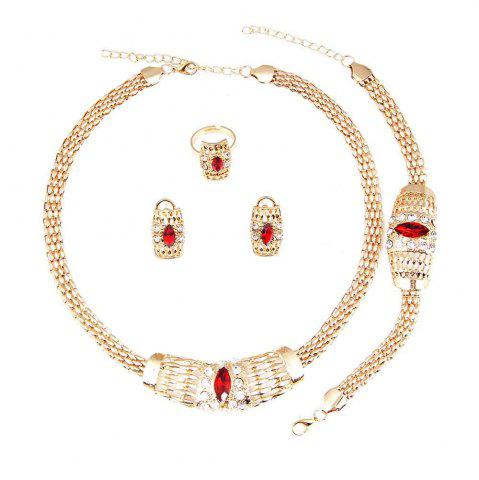 Chic New Gold-plated Chain  with Crystal Necklace Earrings