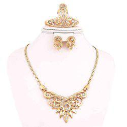 Vintage and Elegant Gold-plated Necklace Earrings and Ring Bracelet Jewelry Set -