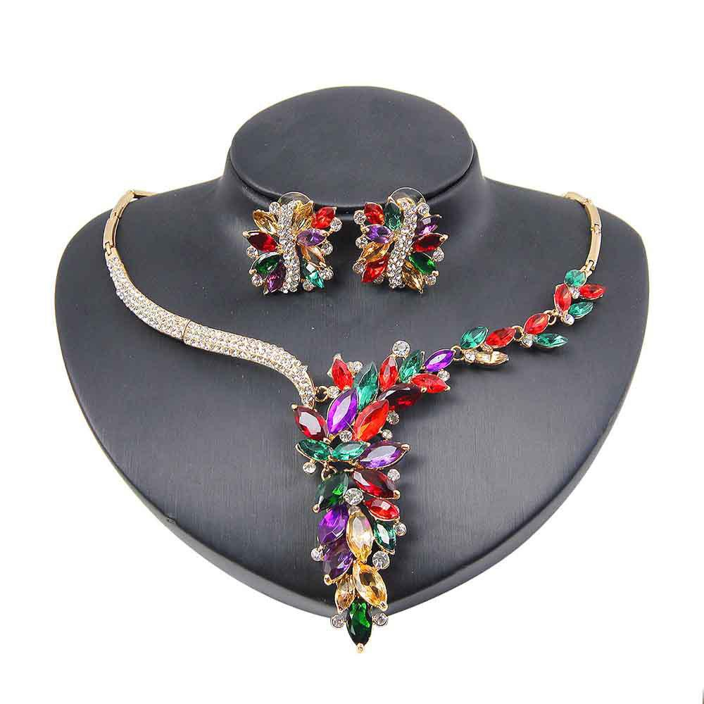 Buy Colorful Zircon Necklace Earrings  Suit Noble Women