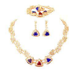 Diamond-encrusted Crystal Necklace Earrings with Three Sets -