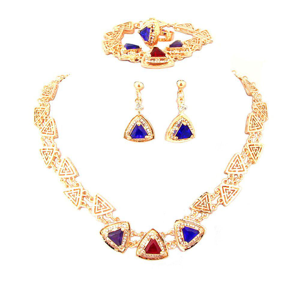 Fashion Diamond-encrusted Crystal Necklace Earrings with Three Sets