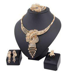 Gold-plated and Diamond-encrusted Necklace Bracelet with Four Pieces -