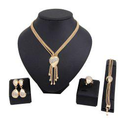 Gold-plated Necklace Earrings Bracelet Ring Style Jewelry Set -