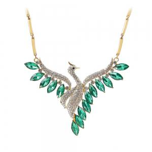 Crystal Swan Necklace and Earrings Suit -