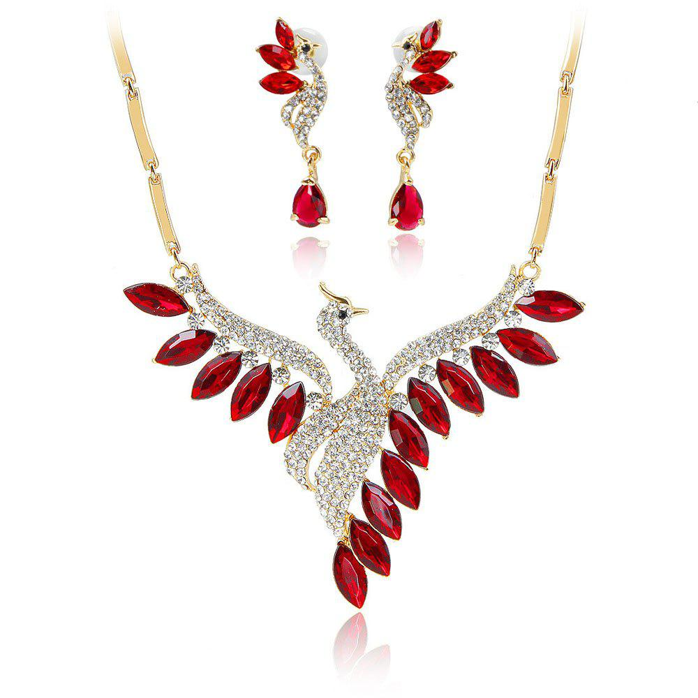 Online Crystal Swan Necklace and Earrings Suit