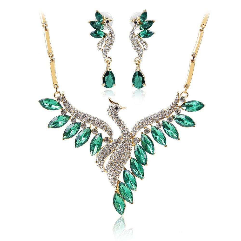 Fancy Crystal Swan Necklace and Earrings Suit