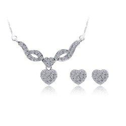 Water Drill Small Pendant Earrings Fashion Necklace Set -