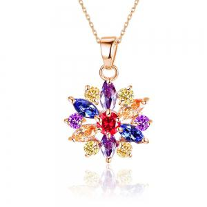 Small and Fresh Multicolor Needle-colored Drill Flower Necklace  with Two Sets of Earrings -