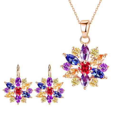 Buy Small and Fresh Multicolor Needle-colored Drill Flower Necklace  with Two Sets of Earrings