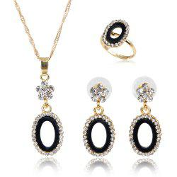 The Angel Ring Necklace with Diamond-encrusted Earrings with Three Pieces -