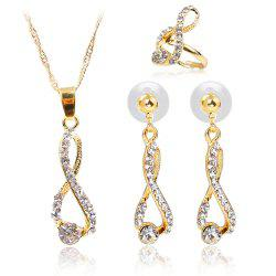 Diamond-encrusted Necklace Earrings with Three-piece Fashion Pendant -