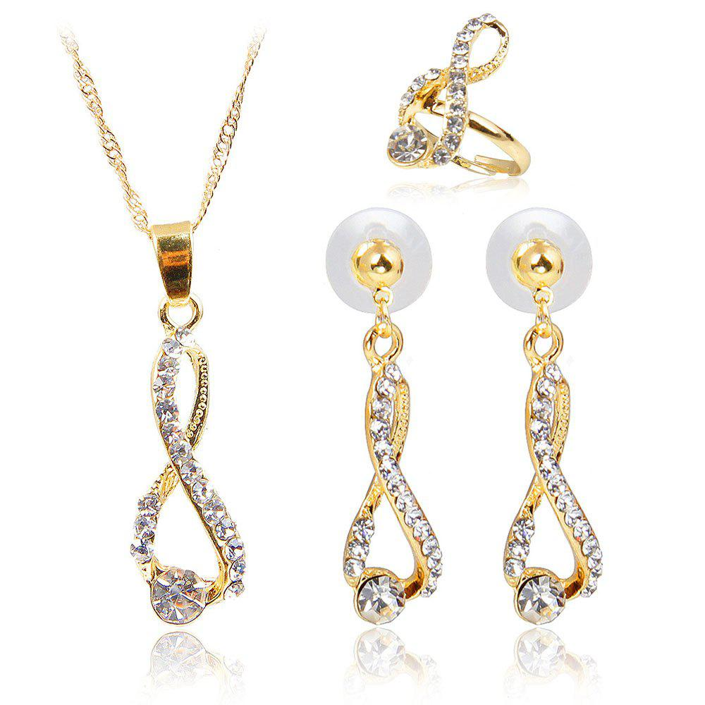 Buy Diamond-encrusted Necklace Earrings with Three-piece Fashion Pendant