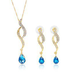 High-grade Luxury Water Drop Inlaid with Diamond Jewelry Set -