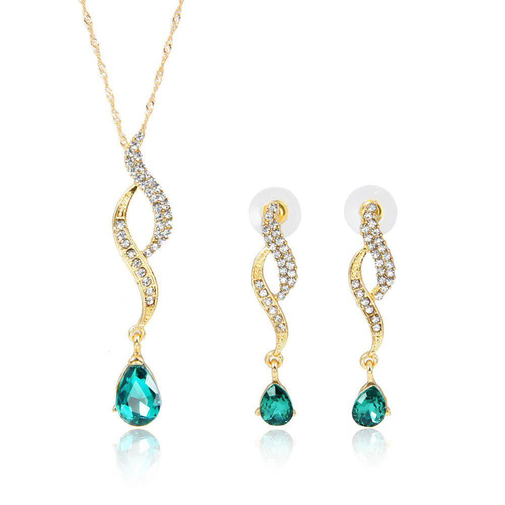 Unique High-grade Luxury Water Drop Inlaid with Diamond Jewelry Set