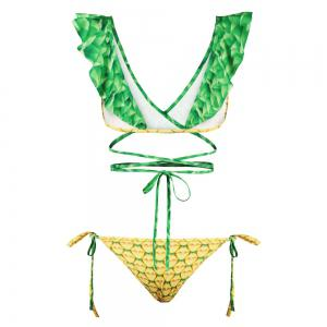 Sexy Backless Bikini Digital Print Swimwear Bathing Suit -