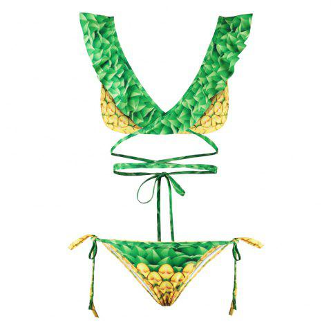 Online Sexy Backless Bikini Digital Print Swimwear Bathing Suit