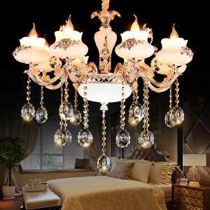 HD1618 8 Head Extravagant Zinc Alloy Jade Crystal Chandelier -