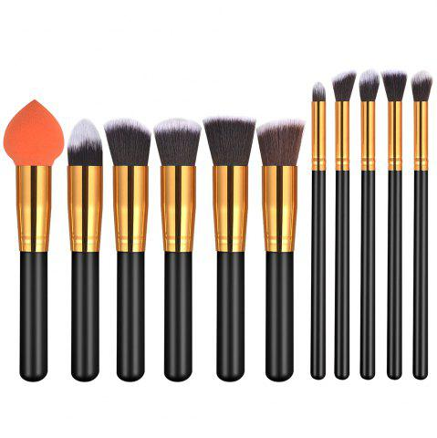 Shops 11PCS Black Gold High Quality Professional Makeup Brushes Set