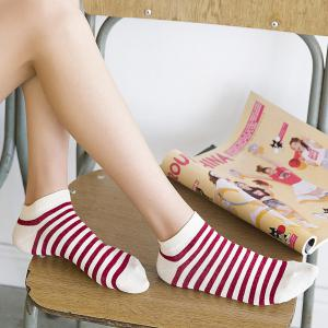 Five Pairs of Color Mixed Cotton and Short  Socks -