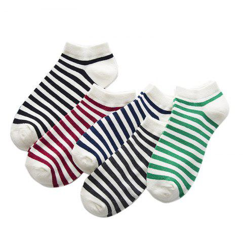 Chic Five Pairs of Color Mixed Cotton and Short  Socks