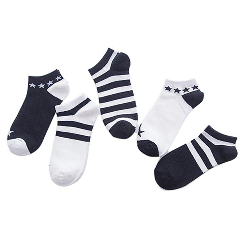 Store A Black and White Cotton  Socks All-match Five Double Color Mix