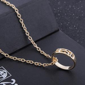 3 Pcs Women's Fashion Necklace Personalized Hollowed Out Letter Rings Pendant Accessory -