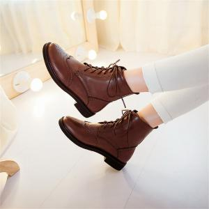 Women Shoes Low Heel Lace-up Combat Boots -